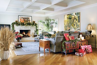 Festive Fireplace and Gifts Galore - Designer Holiday Decorating Ideas